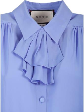 Gucci crêpe de Chine shirt detachable jabot detail