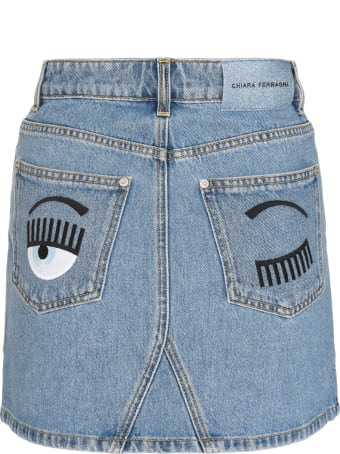 Chiara Ferragni Flirting Denim Mini Skirt