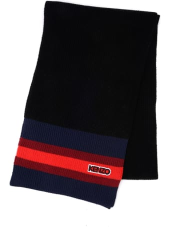 Kenzo Scarf In Black Wool With Multicolor Striped Pattern