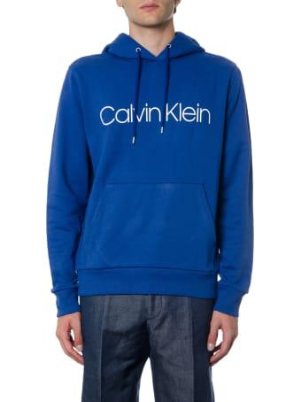 Calvin Klein Blue Cotton Hoodie Sweatshirt With Logo