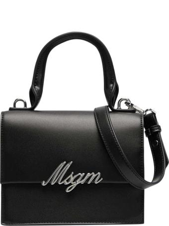MSGM Black Shoulder Bag With Application