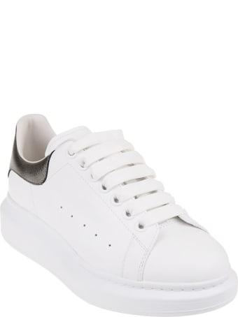 Alexander McQueen Woman White And Metallic Grey Oversize Sneakers