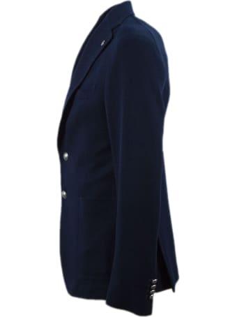 Tagliatore Blue Cotton Blend Blazer