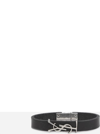 Saint Laurent Opyum Black Silver Leather Bracelet