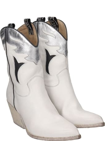 Elena Iachi Texan Ankle Boots In White Leather