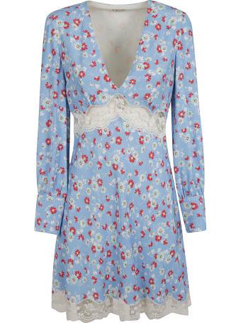 Miu Miu Floral Print V-neck Laced Detail Dress