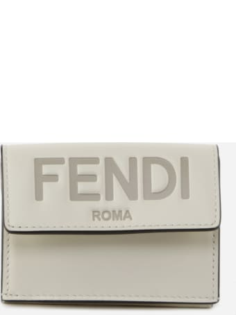 Fendi Trifold Wallet In White Leather