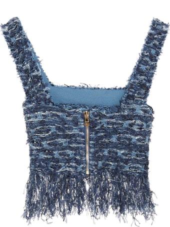 Balmain Fringed Tweed Top