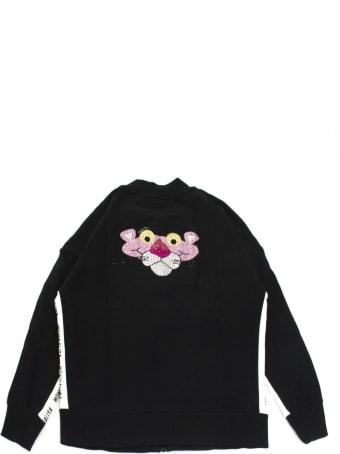 Monnalisa Black Cotton Zip-up Sweatshirt