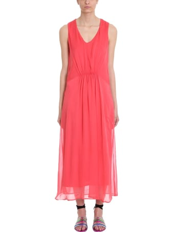 120% Lino Red Draped Cotton And Linen Dress