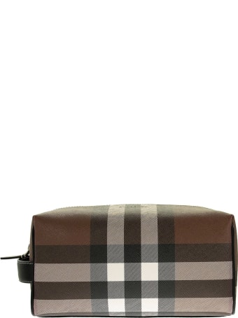 Burberry Check E-canvas Travel Pouch Dark Birch Brown