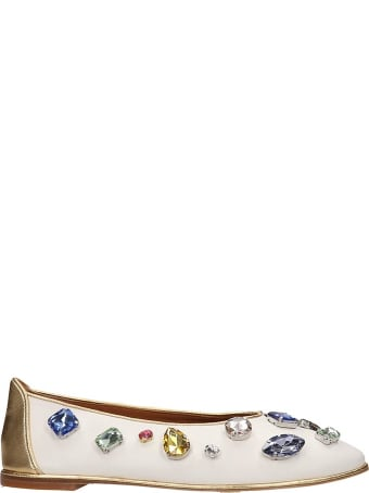 Tory Burch Crystal Ballet Flats In White Leather