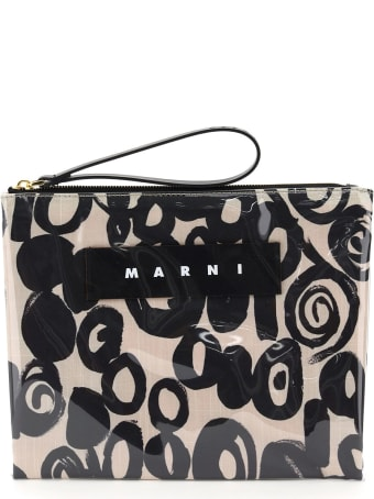 Marni Glossy Grip Abstract Drops Print Pouch