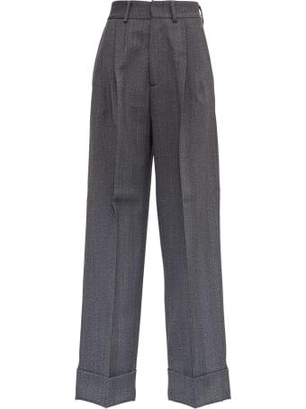 Tonello Gray Wool Wide Leg Pants