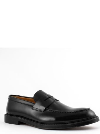 Doucal's Black Leather Penny Loafer