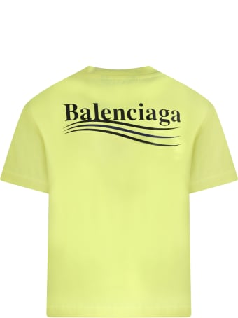 Balenciaga Neon Yellow T-shirt For Kids With Logo
