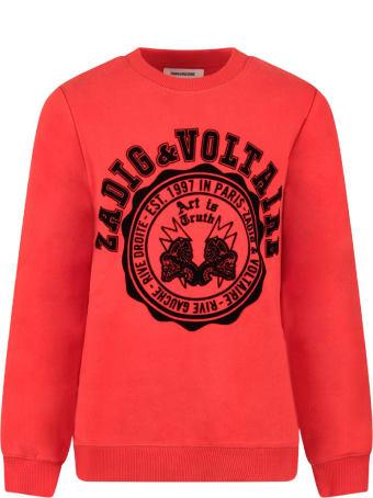 Zadig & Voltaire Red Boy Sweatshirt With Black Logo