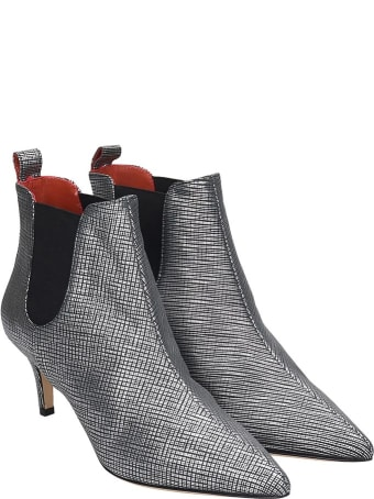 Bams Low Heels Ankle Boots In Silver Leather