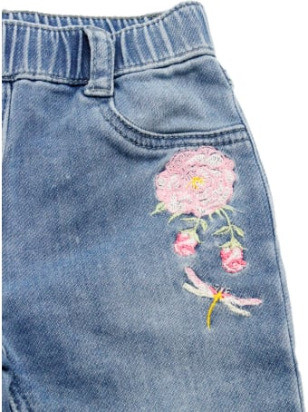 Monnalisa Jeans Trousers With Elastic Waistband And Rose Embroidery