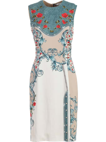 Versace Collection Dress W/s Pencil Baroque Printing W/side Slit