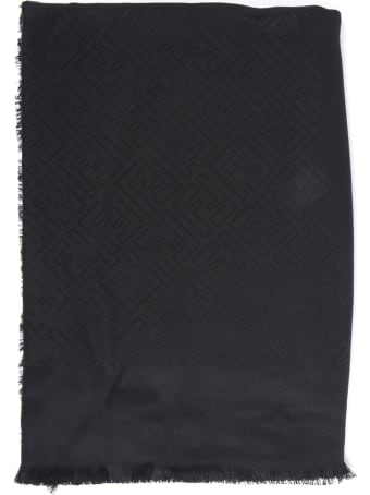 Fendi Black Silk And Wool Shawl With Monogram