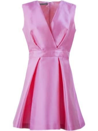 Alberta Ferretti Pink Silk Blend Flared Mini Dress