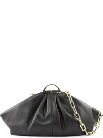the VOLON Black Leather Gabi Clutch Bag