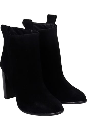Anna F. High Heels Ankle Boots In Black Suede