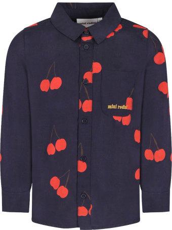 Mini Rodini Blue Kids Shirt With Red Cherries