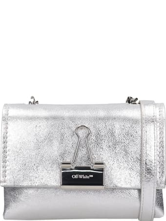 Off-White Shoulder Bag In Silver Leather