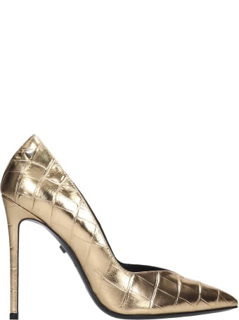 Grey Mer Pumps In Gold Leather