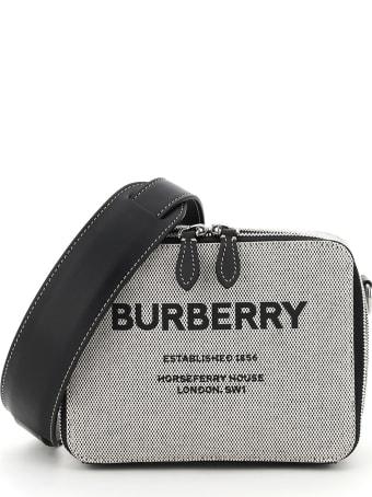 Burberry Sutton Canvas Messenger Bag With Logo
