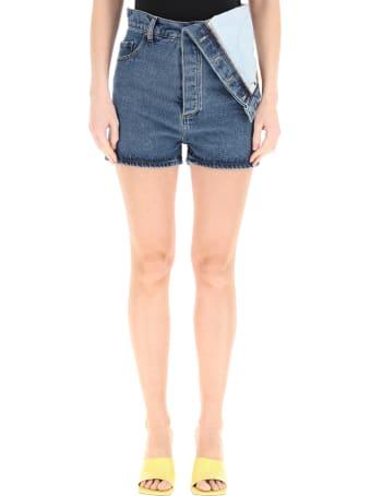Y/Project Denim Shorts With Asymmetrical Waist