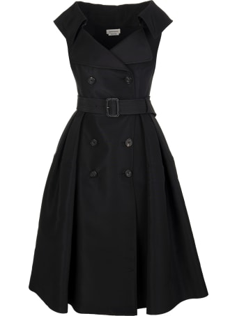Alexander McQueen Black Midi Dress In Silk Faille With Belt