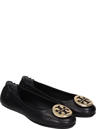 Tory Burch Minnie Travel Ballet Flats In Black Leather