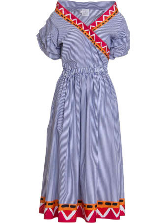 Stella Jean Cotton Midi Dress In Blue