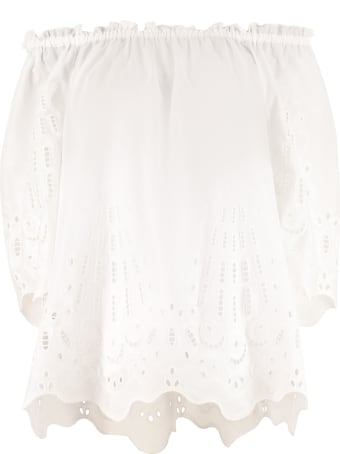 Alberta Ferretti Embroidered Cotton Blouse