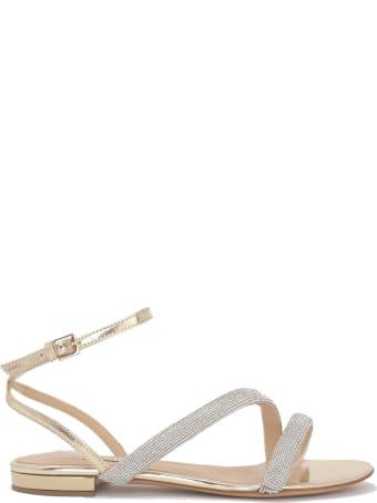 Ninalilou Gold Flat Sandals With Svarowsky