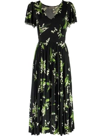 RED Valentino May Lily Print V-neck Dress Black