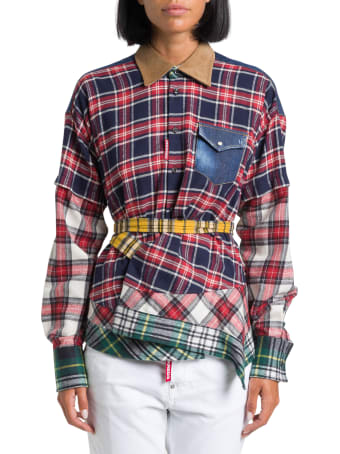 Dsquared2 Flannel Shirt With Belt And Patchwork Details