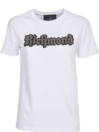 John Richmond White T-shirt With Embellished Logo