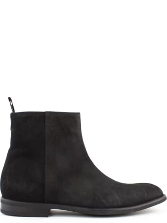 Green George Black Suede Ankle Boot