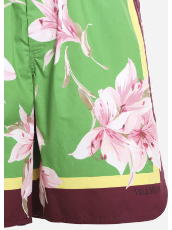 Valentino Cotton Bermuda With Floral Print