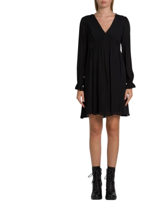 MICHAEL Michael Kors Short Silk Dress With Pleated Design And Puffed Sleeve