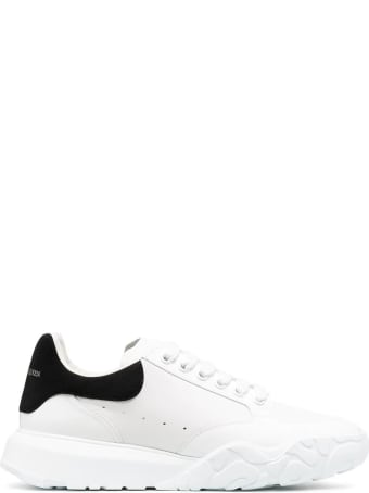 Alexander McQueen Man White Court Sneakers With Black Suede Spoiler