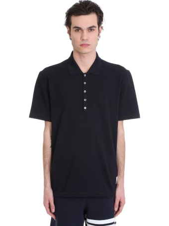 Thom Browne Polo In Blue Cotton