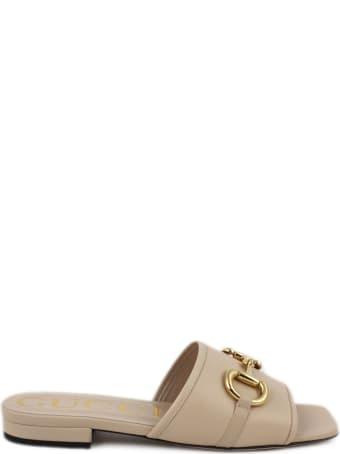 Gucci Pink Leather Slide Sandal