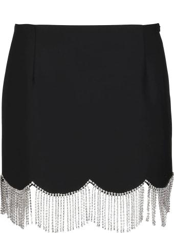 AREA Black Wool Blend Mini Skirt