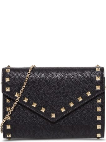 Valentino Garavani Rockstud Crossbody Wallet In Black Leather