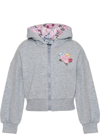 Monnalisa Floral Embroidered Sweatshirt